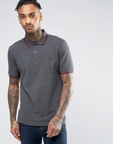 Fred Perry Slim Pique Polo Shirt Twin Tipped in Gray