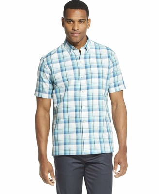 Van Heusen Men's Air Short Sleeve Button Down Plaid Shirt