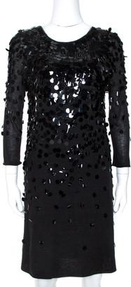 Rebecca Taylor Black Knit Sequin Embellished Mini Dress L