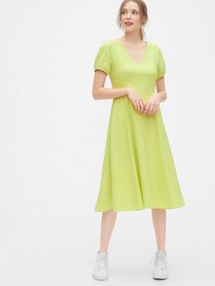 Gap V-Neck Midi Dress in Linen