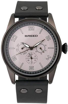 Breed Quartz Rio Black Genuine Leather Watches 43mm