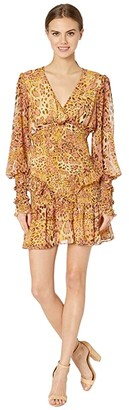 Bardot Leo Frill Dress (Pinky Leopard) Women's Clothing