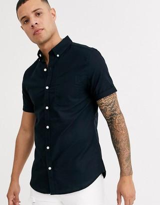 New Look short sleeve oxford shirt in navy