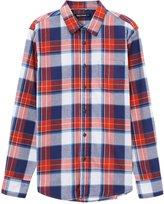 Meters/bonwe Men's Classic Plaid Long Sleeve Button down Shirt, L