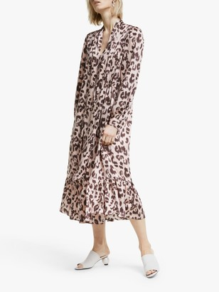 Mother of Pearl Tencel Tie Neck Leopard Print Dress, Pink/Multi