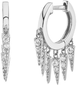 Sydney Evan 14k White Gold Diamond Fringe Hoop Earrings