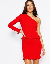 Asos Co-ord One Shoulder Sweater in Rib with Ruffle Hem