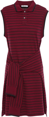 Alexander Wang Tie-front Striped Cotton-pique Mini Dress