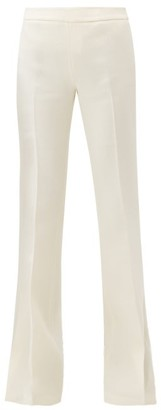 Giambattista Valli Flared Wool-crepe Trousers - Womens - Ivory