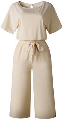 Goodnight Macaroon 'Aria' Boat Neck Short Sleeve Tied Waist Jumpsuit (4 Colors)