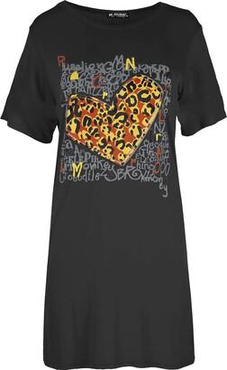 Fashion Star Womens Tunic Loose Fit Mini Pj T Shirt Dress Black M/L (UK 12/14)