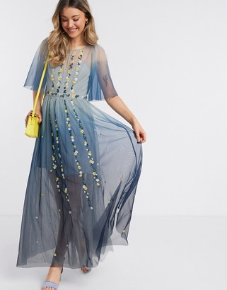 French Connection ombre embroidered maxi dress in indigo