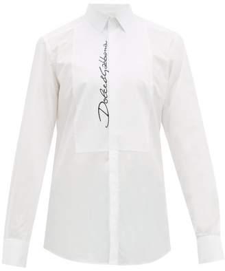 Dolce & Gabbana Logo Embroidered Cotton Poplin Shirt - Mens - White