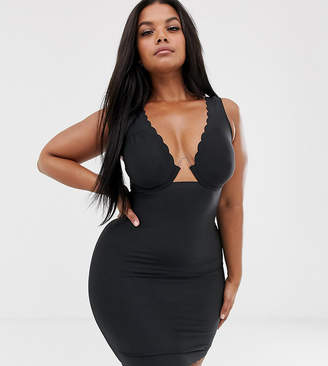 Figleaves Curve Smoothing Luxe firm control slip dress with exposed wire in black