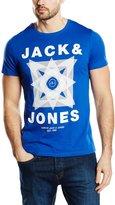 La Redoute Jack & Jones Mens Mix Short-Sleeved Crew Neck T-Shirt Blue Size L
