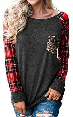 DEELIN Women Round Collar Autumn Winter Long Sleeve Pullover Lattice Plaid Tops Patchwork Stitching Sequins Pocket Blouse Ladies Shirt(Gray S)