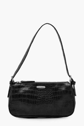 boohoo Croc PU Tab Detail Under Arm Bag