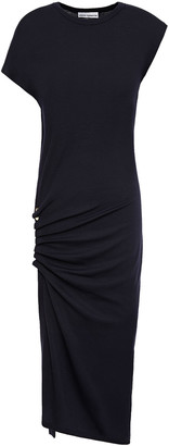 Paco Rabanne Button-embellished Ruched Stretch-wool Jersey Dress