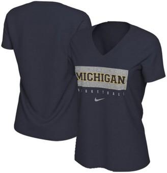 Nike Women's Navy Michigan Wolverines Basketball V-Neck Practice T-Shirt
