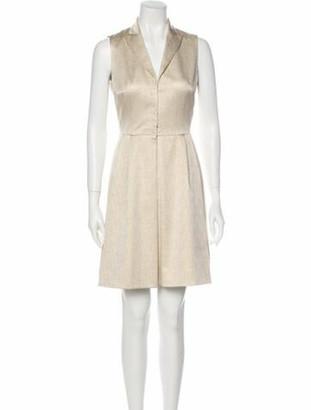 Akris V-Neck Mini Dress Gold