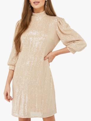 Monsoon Adara Sequin Dress, Blush
