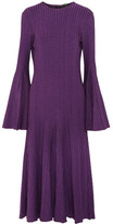 Ellery Conrad Ribbed Stretch-knit Midi Dress - Purple