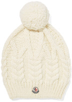 Moncler Pompom-embellished Cable-knit Beanie - Ivory