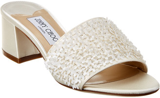 Jimmy Choo Minea 45 Embellished Satin Sandal