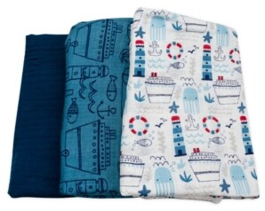 Mac & Moon 3-Pack Nautical Print Muslin Swaddles
