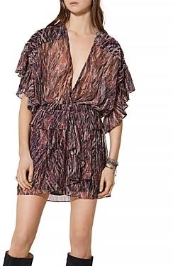 IRO Paronie Printed Metallic Dress