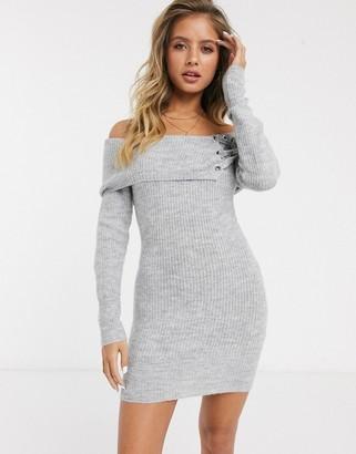 Lipsy Bardot eyelet tunic dress in gray