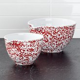 Crate & Barrel Red Spatterware Spouted Bowls Set of 2