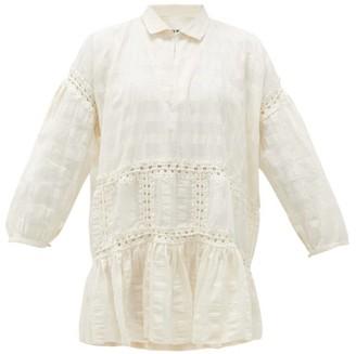 Story mfg. Olga Crochet-insert Striped Cotton Dress - White