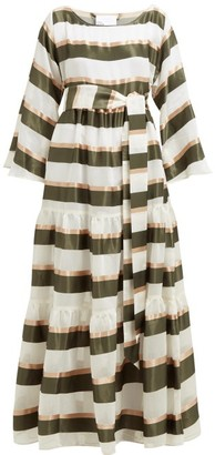 Lisa Marie Fernandez Tiered Striped Voile Maxi Dress - Womens - Green White