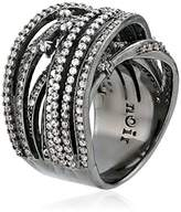 Noir Clear Pave Interlaced Wrap Ring, Size 6