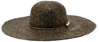 Sensi Lady Ibiza Shell-embellished Straw Hat - Black Gold