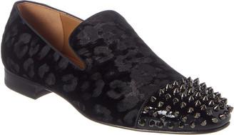 Christian Louboutin Spooky Flat Velvet Leopard Patent Loafer