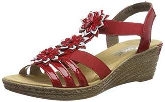 Rieker Women's 62461-34 Closed Toe Sandals, Red (Rosso/Ice 34)
