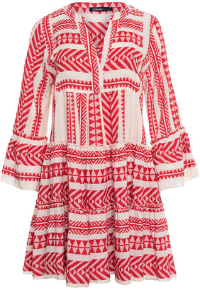 Devotion Red Zakar Embroidery Dress - XS - Red/White