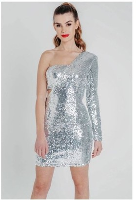 Pretty Darling Silver Sequin One Shoulder Bodycon Mini Dress