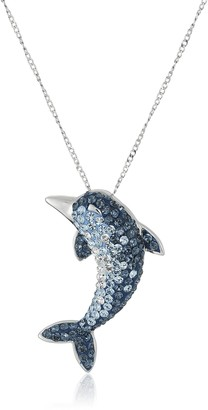 Amazon Collection Sterling Silver Swarovski Elements Crystal Dolphin Pendant Necklace 18""