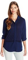 Calvin Klein Jeans Women's Knit Blocked Button Front
