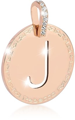 Rebecca Rose Gold-plated Bronze & Zirconia J Charm W/Rhodium-plated Necklace