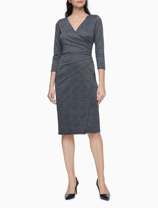 Calvin Klein Plaid Wrap Starburst 3/4 Sleeve Sheath Dress