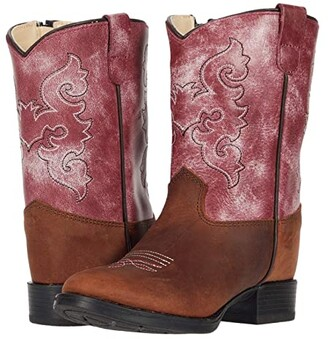 Old West Kids Boots Rose (Toddler) (Tan) Girl's Shoes