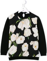 Dolce & Gabbana tulip print panel jumper - kids - Viscose/Virgin Wool - 8 yrs