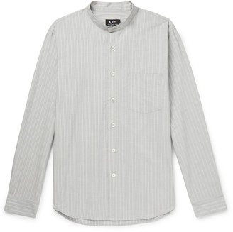 A.P.C. Alejandro Grandad-Collar Striped Cotton Shirt