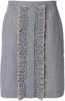 No.21 gingham ruffle detail skirt