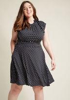 Retrolicious Dance Floor Date A-Line Dress in Black Dots in S