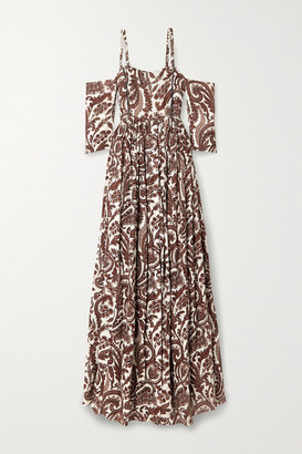 Rosie Assoulin Cold-shoulder Paisley-print Linen Maxi Dress - Off-white